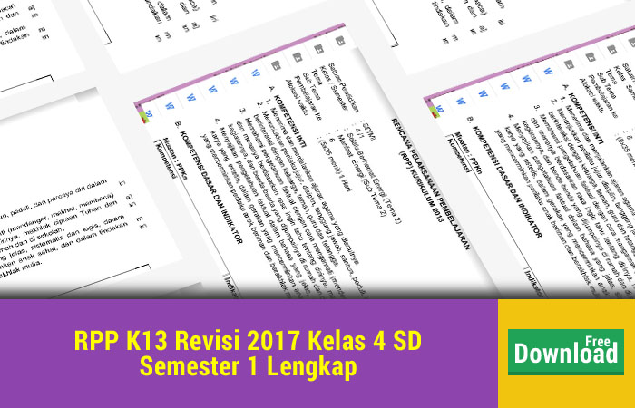 RPP K13 Revisi 2017 Kelas 4
