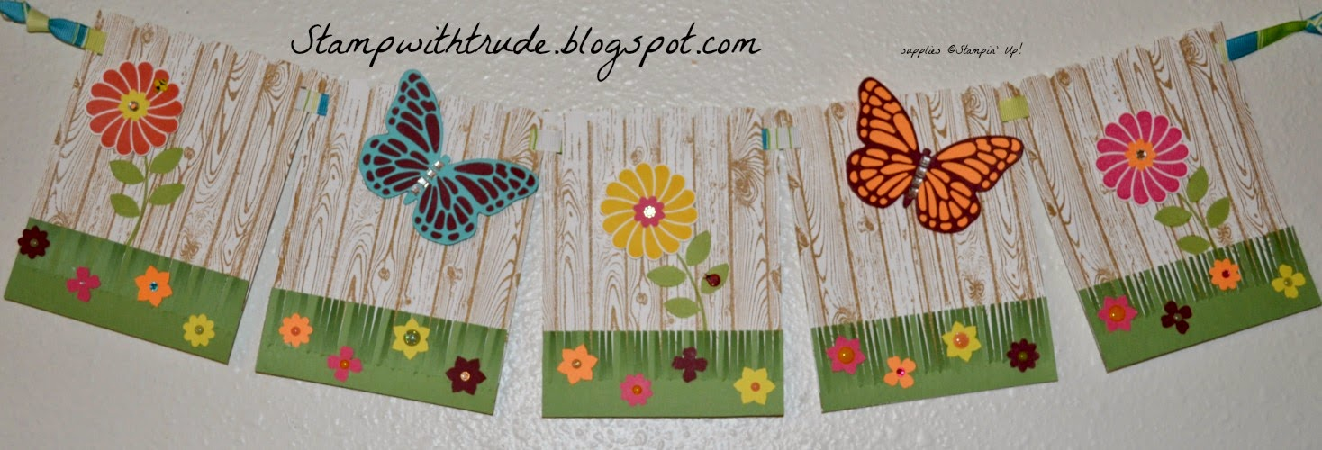 Stampin' Up!, stampwithtrude.blogspot.com , Trude Thoman, spring banner, butterfly framelits, Crazy About You