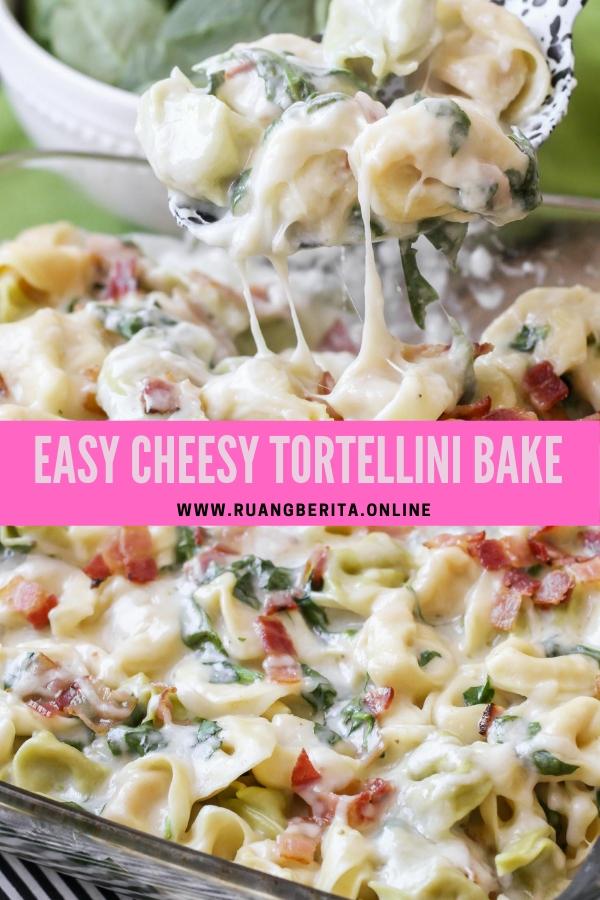 Easy Cheesy Tortellini Bake #lunch #easy #cheesy #tortellini #baked