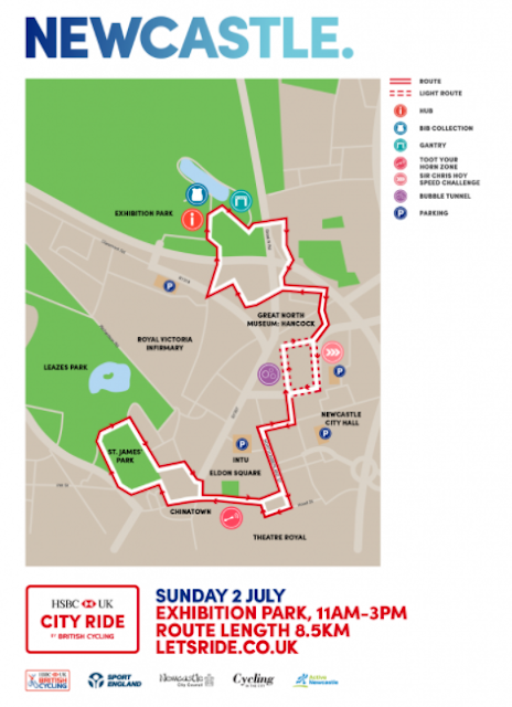 HSBC UK City Ride Newcastle | Cyclists are invited to take over the streets of Newcastle on Sunday 2nd July  - route map