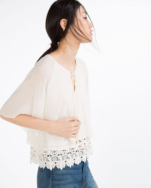 zara hem detail white top,
