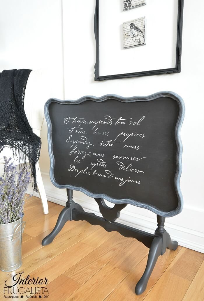 Black Flip Top Table French Poem Stencil