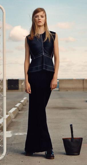 vestido largo negro colección Studio Zara