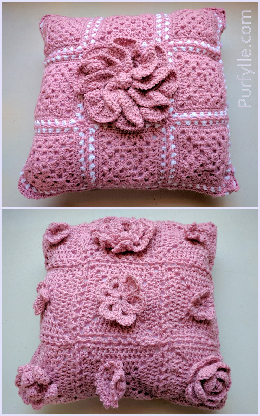 Give your crochet granny square cushions a 3D effect with crochet motifs