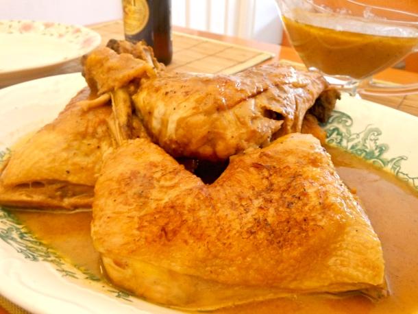 Pollo con cerveza y coñac