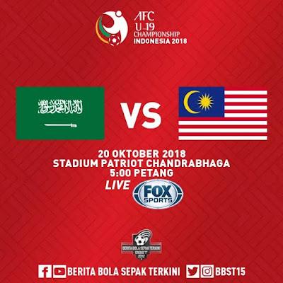 Live Streaming Arab Saudi vs Malaysia AFC U19 20.10.2018