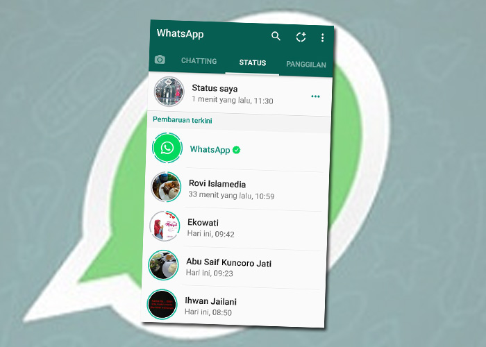 cara bikin status foto dan video fitur terbaru whatsapp