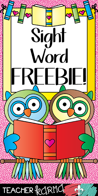 FREE sight word resources TeacherKARMA.com