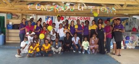 Hollywoodbets Quigney team with Mama Angus and children from The River of Life