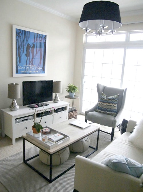 the space is united with similar decor throughout so it flows well - Living Room Arrangements For Small Spaces
