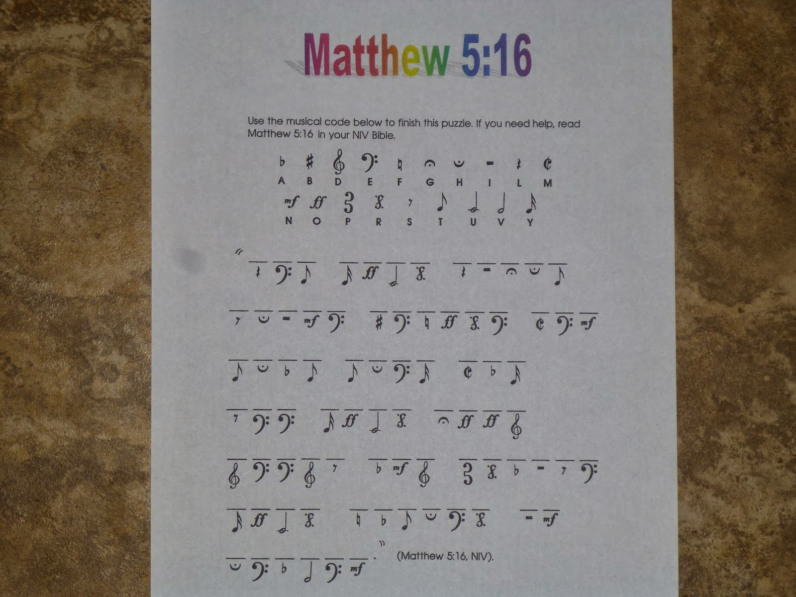 Ideas Unlimited Matthew 5 16 Musical Code Printable Puzzle