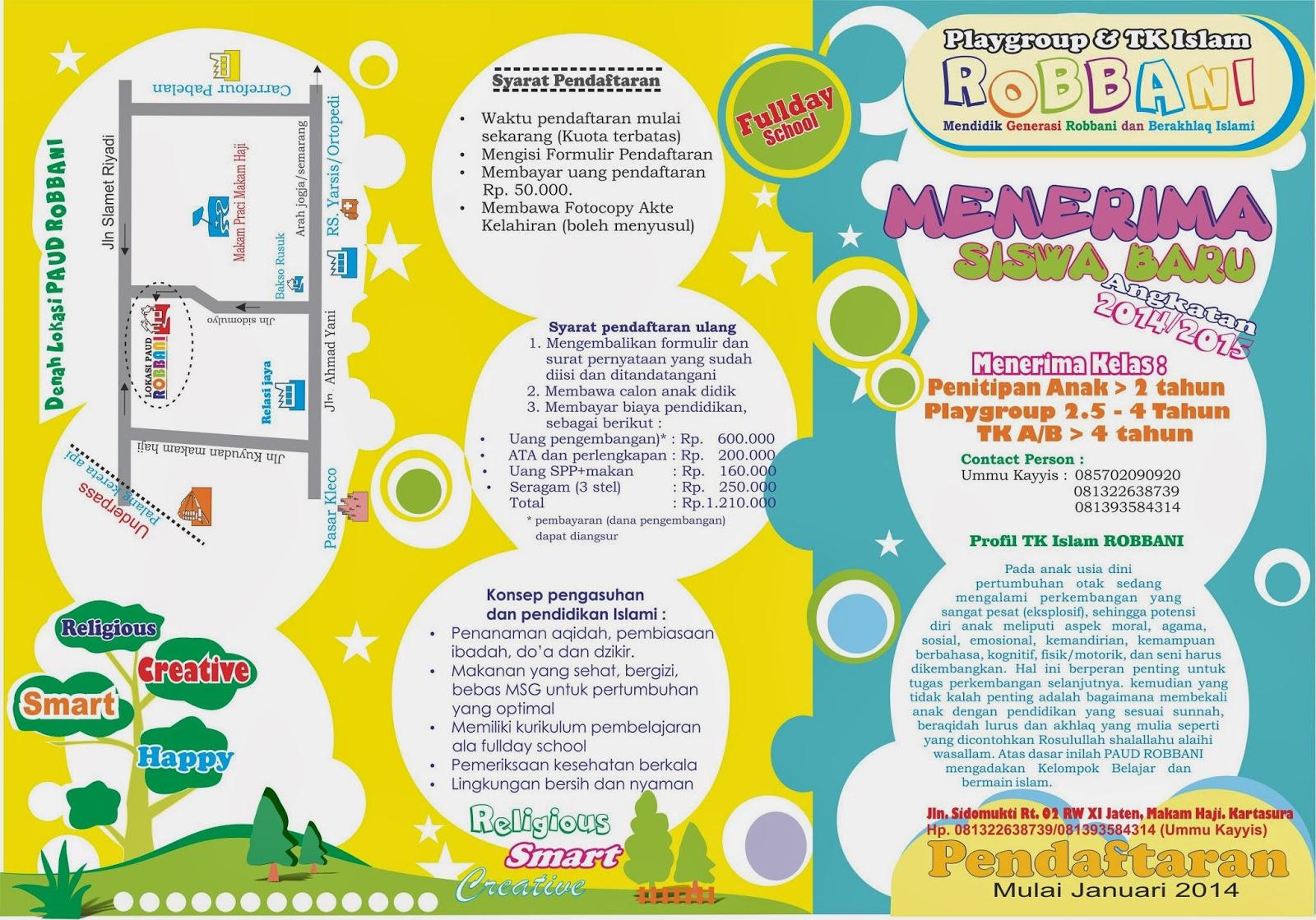 Brosur Paud Robbani 2014 2015 Playgroup Dan Tk Islam Robbani