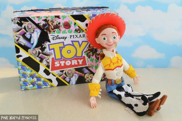Jessie cowgirl doll sitting and leaning against an Irregular Choice Toy Story shoe box