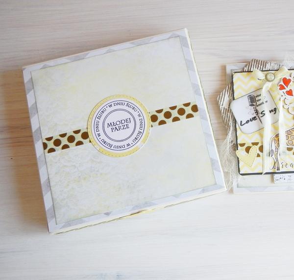 Kartka ślubna z żyrafami i pudełko