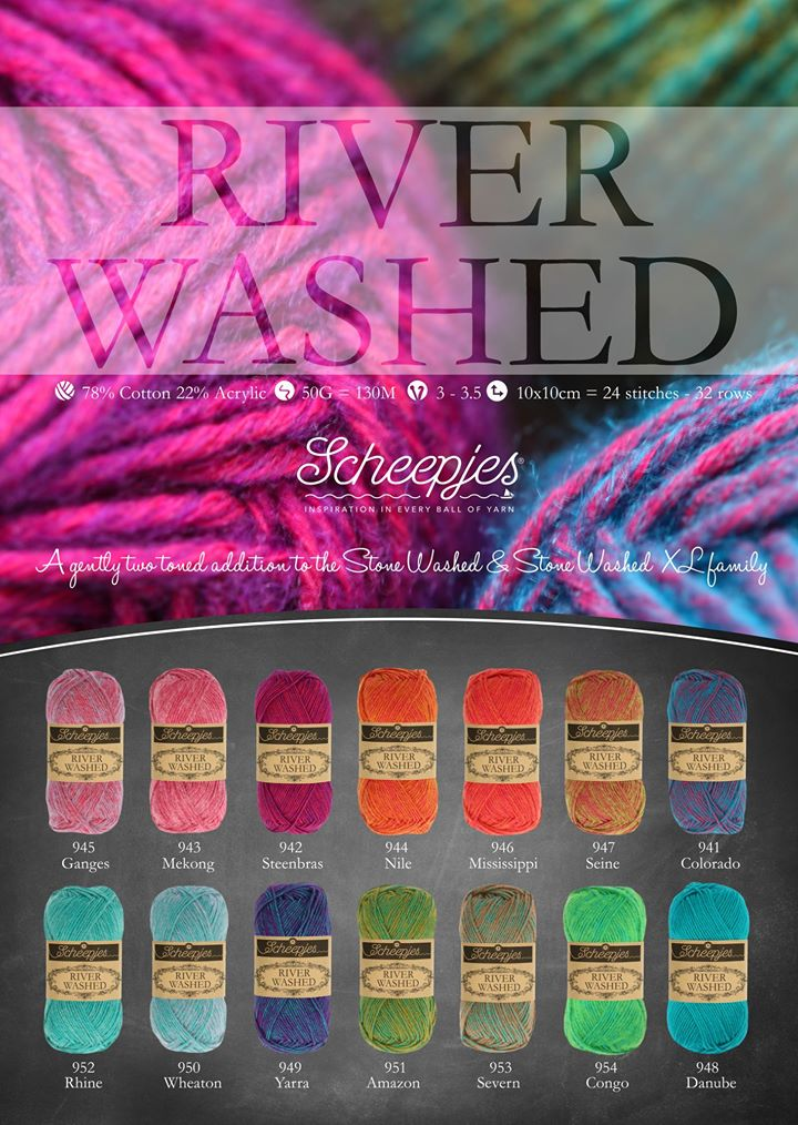 River Washed - new yarn by Scheepjes with unique colors. Review by www.lillabjorncrochet.com