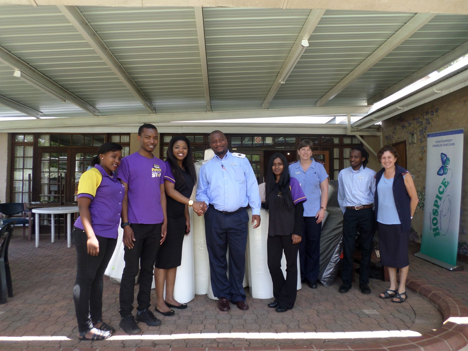 Staff members at Msunduzi Hospice are thankful for a donation of mattresses and foam wedges from Hollywoodbets Dukwahs