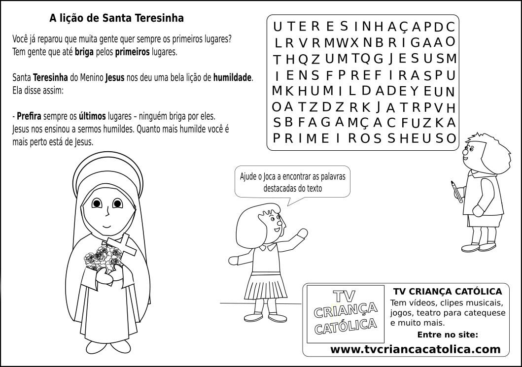 Caca Palavras Para 21 10 A Licao De Santa Teresinha