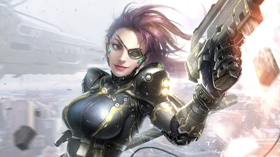 Sci-Fi, Girl, Soldier, Eye Patch, 4K, #6.774