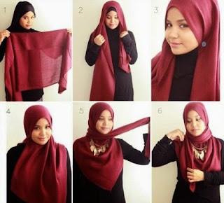 cara memakai hijab segitiga simpel