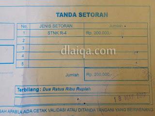 bukti pembayaran STNK