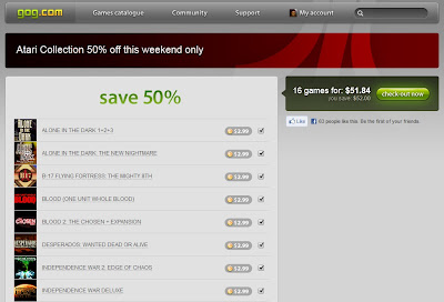 Screenshot of Atari sale on GOG website