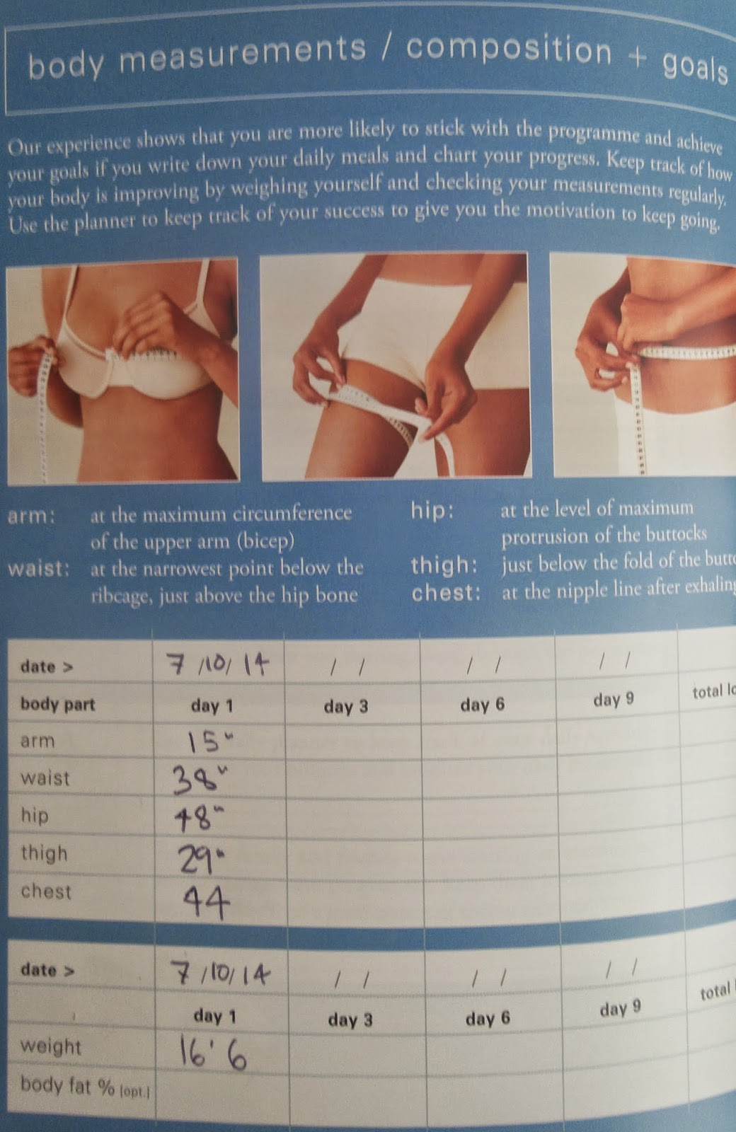 Clean 9 Day 1 Measurements, inch loss on clean 9