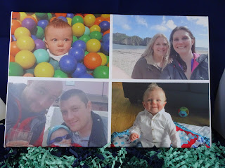 canvas photo with four small photos of family.