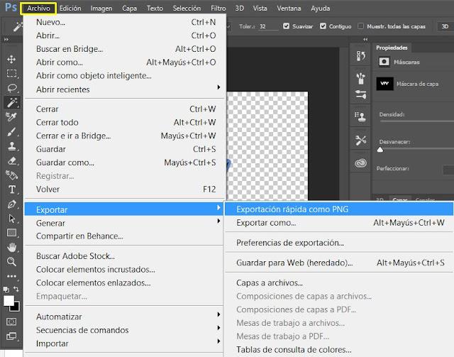 Exportar el archivo en formato PNG