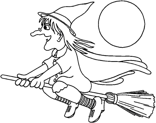 Happy halloween witches pictures to print and color for kids