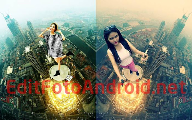 Tutorial Cara Edit Foto Di Atas Gedung Tinggi Manipulasi Selfie Keren + Mentahan Background Atap Gedung