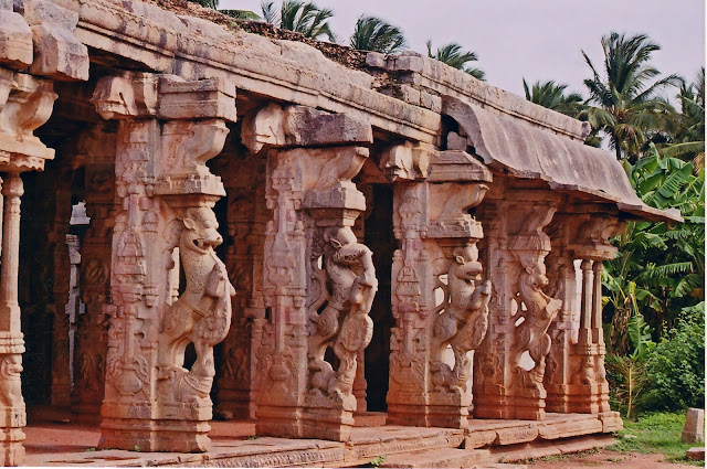 Pick, Pack, Go-  Yali Pillars in front of Chandikesvara temple Hampi