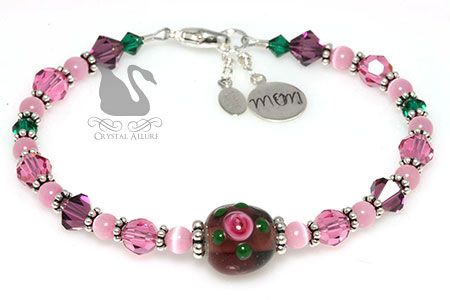 Purple Pink Rose Floral Artbead Crystal Mom Charm Bracelet (B088)