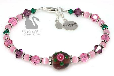 Purple Pink Rose Floral Artbead Crystal Mom Charm Bracelet (B088)