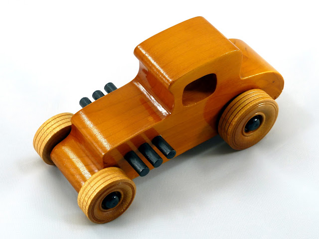 20171010-120840 Wooden Toy Car - Hot Rod Freaky Ford - 27 T Coupe - Pine - Amber Shellac - Black Hubs