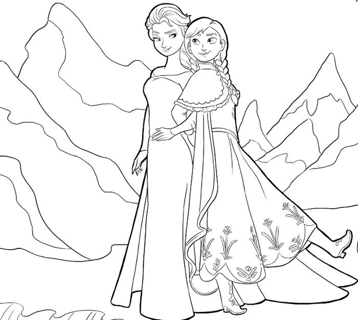 Tranh tô màu công chúa Elsa và Anna cho bé gái