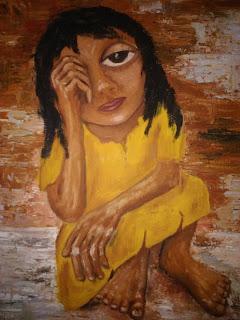 Pintura que muestra a una joven descalza, vestida de amarillo y en cuclillas sostiene su cabeza con una mano y muestra una mirada triste