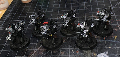 Horus Heresy Dark Angels WIP - heavy support squad with missile launchers