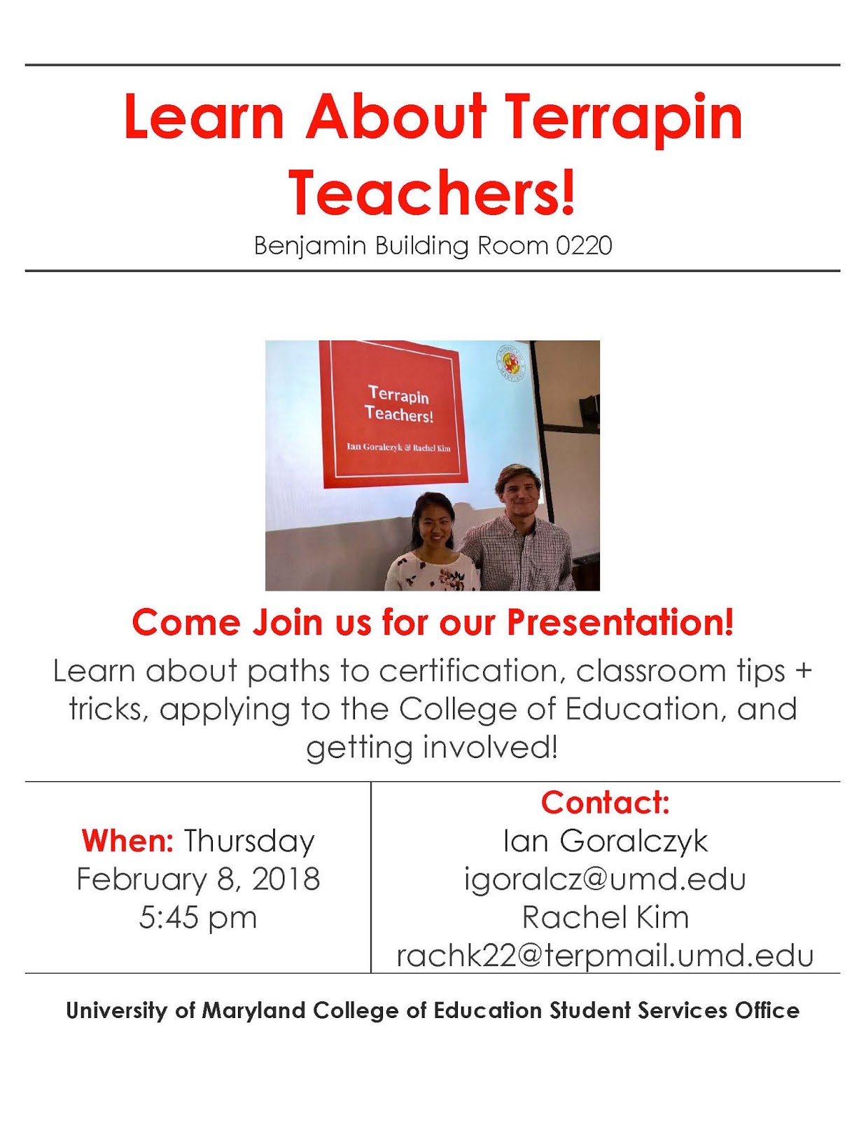 Ccjs undergrad blog information session on the terrapin teachers come out to learn more about the different teaching certification pathways fieldwork tips and more 1betcityfo Image collections