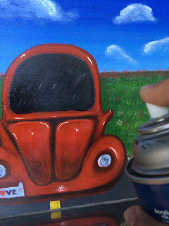 varnishing acrylic paintings, barnizando pinturas acrílicas, spray, red car, Cynthia R.