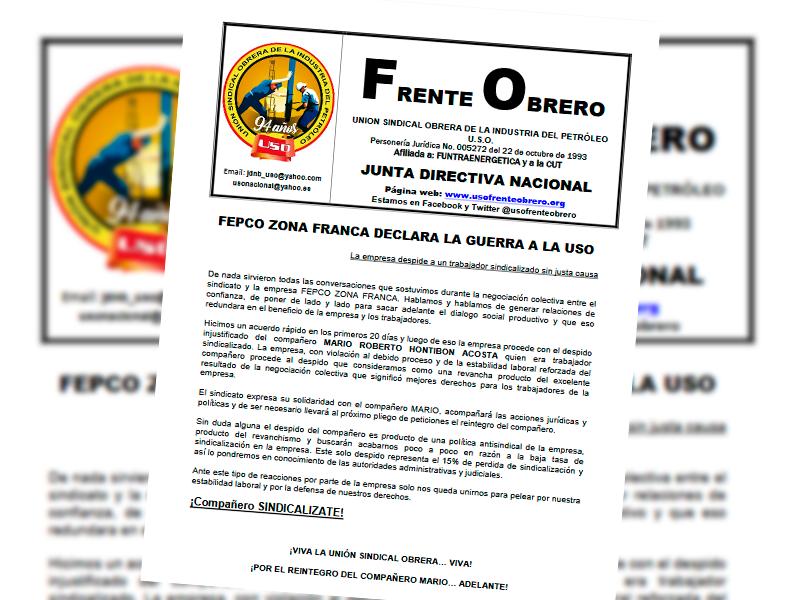 FEPCO Zona Franca declara la guerra a la USO