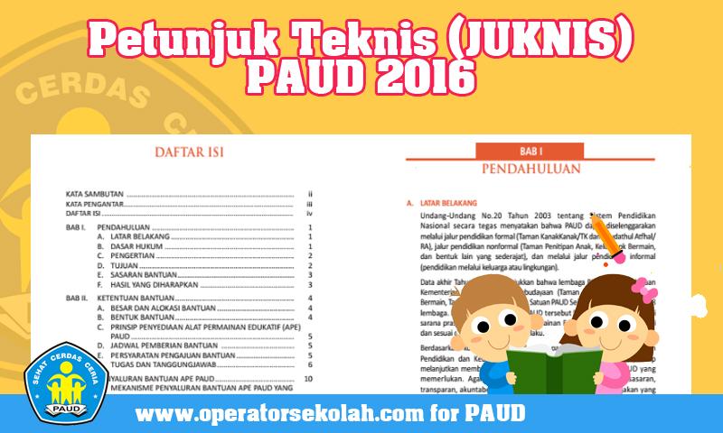 Petunjuk Teknis (JUKNIS) PAUD 2016