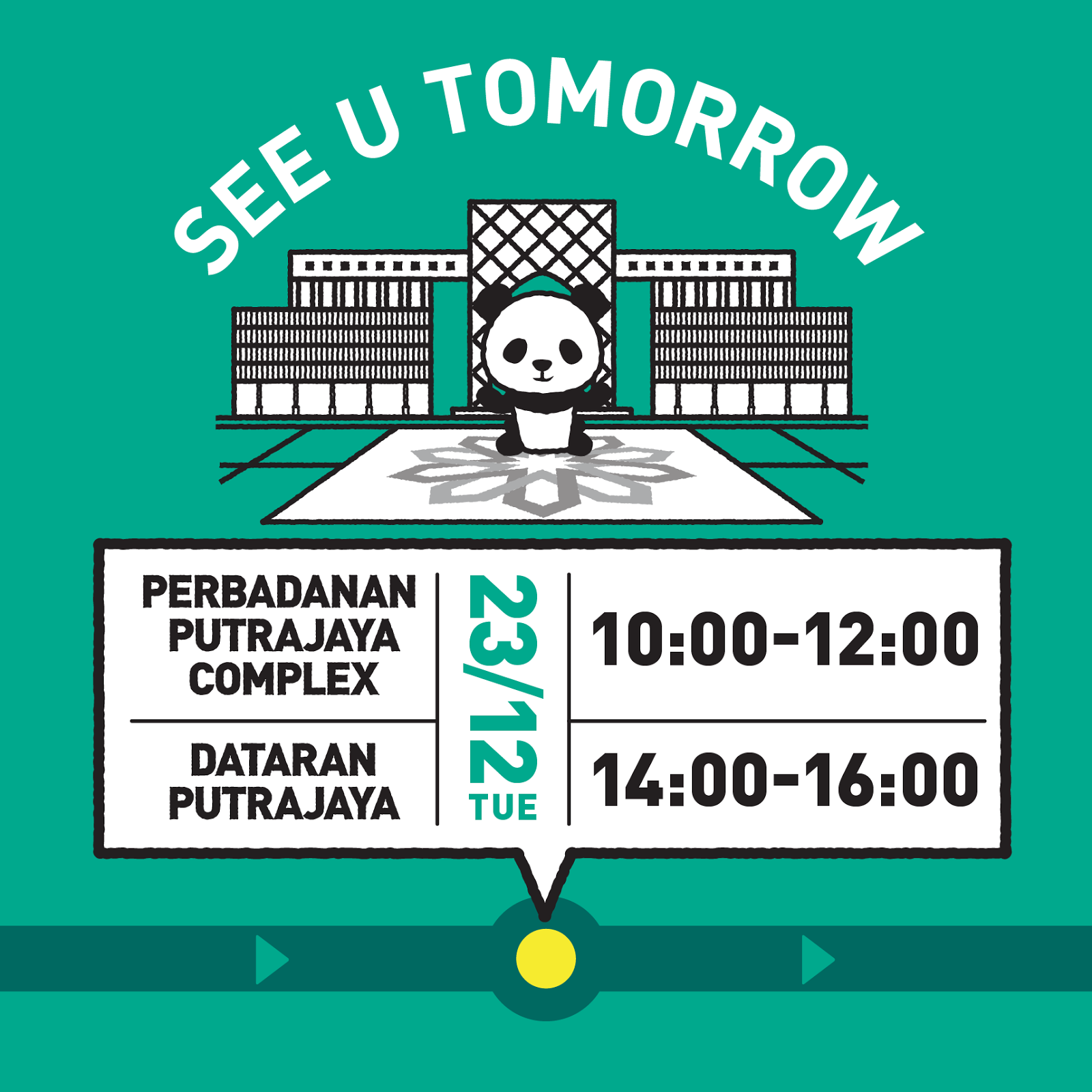 1600 Pandas will be at Perbadanan Putrajaya Complex and Dataran Putrajaya tomorrow (23 Dec) from 10am to 4pm