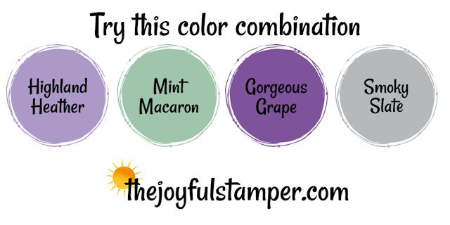 Highland Heather, Mint Macaron, Gorgeous Grape, Smoky Slate color combination