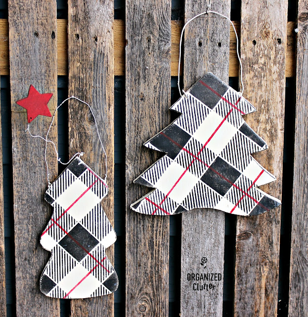 Up-cycled Dated Thrift Shop Christmas Decor #Oldsignstencils #stencil #buffalocheck #plaid #Christmas #thriftshopmakeover