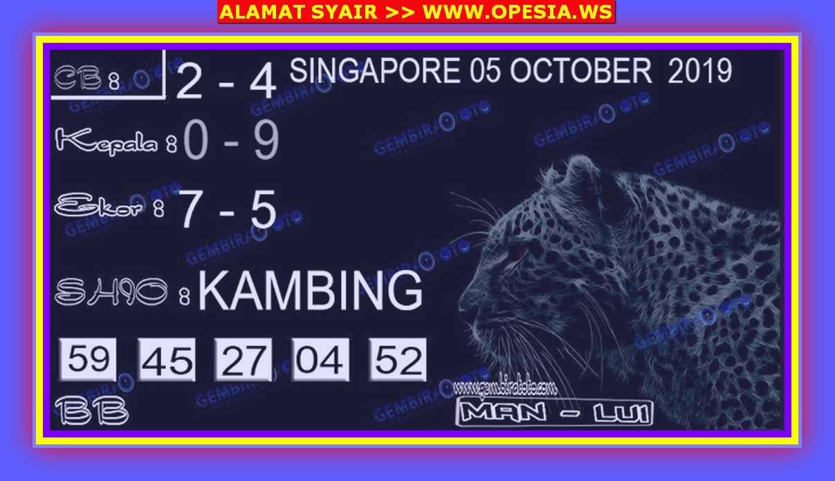 Kode syair Singapore Sabtu 5 Oktober 2019 78