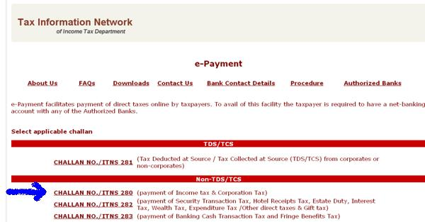 HOW TO DEPOSIT SELF ASSESSMENT TAX CHALLAN 280 ONLINE AY 2012-13