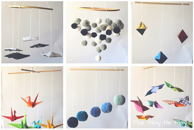 Six baby mobiles including three inspired by Montessori