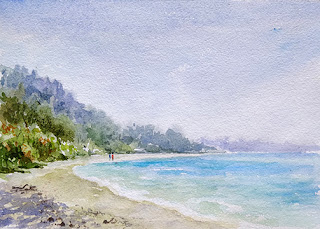 A water colour painting of a seashore at Langkawi, on hand made paper