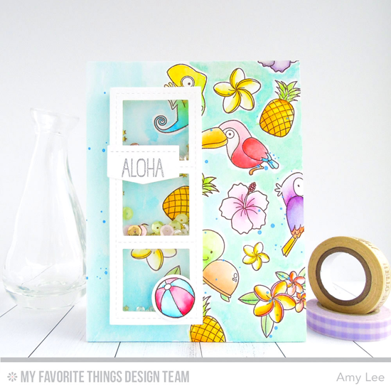 Handmade card from Amy Lee featuring Birdie Brown Polynesian Paradise and Pure Innocence Fun in the Sun stamp sets and Die-namics, Blueprints 27 and Blueprints 29 Die-namics #mftstamps
