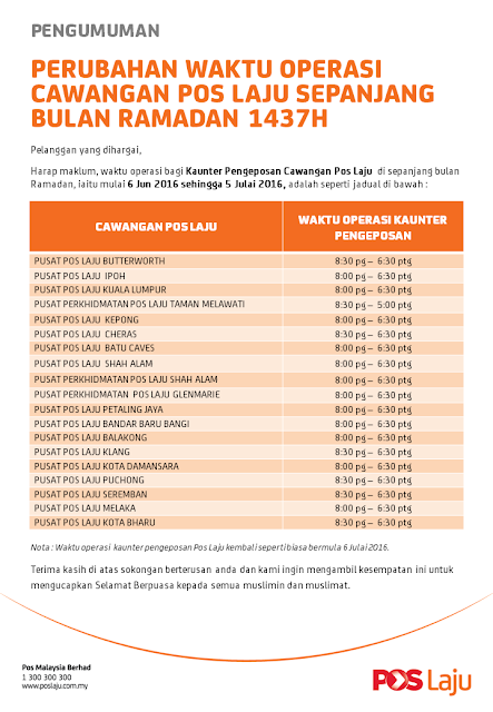 Waktu Operasi Pos Laju Ramadhan 2016
